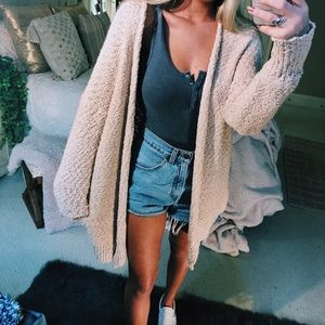Sweaters - oatmeal popcorn knitted cardigan